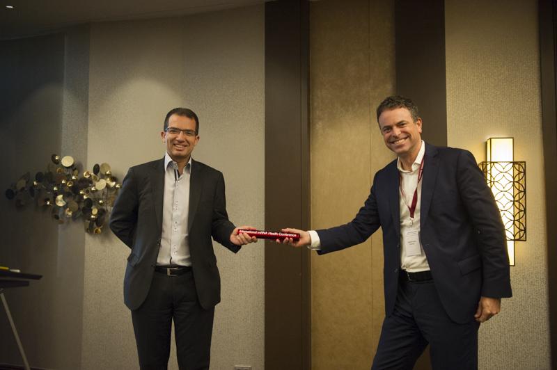 DEU, Deutschland, Germany, Berlin, 12.11.2015: 3rd International mRNA Health Conference, Hotel Hilton Berlin. Stephan Bancel, CEO Moderna Therapeutics, Dr. Ingmar Hoerr, CEO CureVac AG. Photo: © Jens Jeske / www.jens-jeske.de